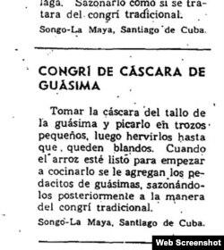 """Receta del manual """"Con nuestros propios esfuerzos"""" publicado durante el período especial en Cuba."""