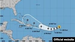 Pronóstico de trayectoria del huracán Irma, en su camino hacia el Caribe. (NHC)
