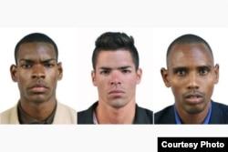 Tres de los remeros cubanos que desertaron en los Panamericanos: (izq. a der.) Orlando Sotolongo, Manuel Suárez y Leosmel Ramos.