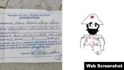 """La citación presentada a Raux Rodríguez y el dibujo de un general mambís con la frase """"Patria y vida""""."""