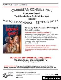 Poster de presentación de Conducta Impropia en el Centro Cultural de New York.