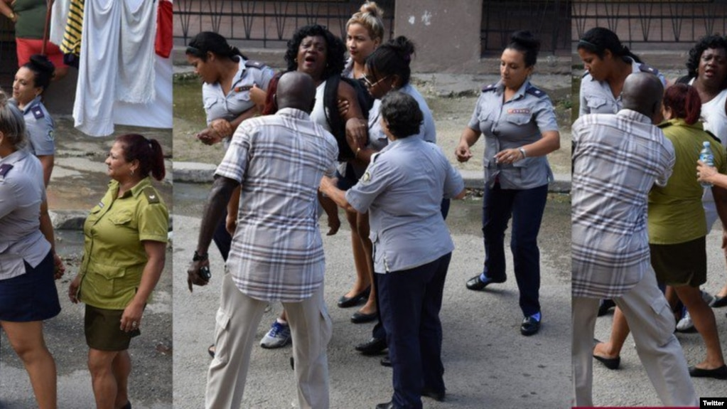 El uso de celulares ha permitido documentar numerosos actos represivos como este arresto de la líder de las Damas de Blanco, Berta Soler. (Angel Moya/Twitter)