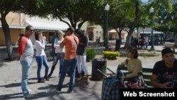 Cubanos varados en Nuevo Laredo, México.