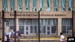 Vista de la embajada americana en La Habana el 29 de septiembre de 2017 tras el anuncio del recorte de personal diplomático.
