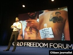 El Sexto habla en Oslo sobre su lucha por la libertad de pensamiento en Cuba.