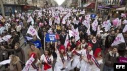 Manifestación masiva contra el matrimonio homosexual en París.