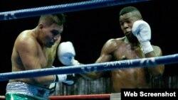 Leinier Peró, boxeador de los Domadores de Cuba (d).