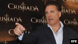 """El actor Andy García, durante una rueda de prensa promocional de la película """"Cristiada"""" en Ciudad de México (México)."""