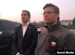 Juan Guaidó y Leopoldo López en Caracas el 30 de abril (Tomado de @leopoldolopezoficial).