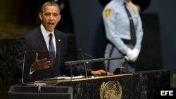 Barack Obama, pronuncia un discurso durante la inauguración de la 67 sesión de la Asamblea General de la ONU en Nueva York.