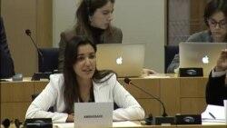 La funcionaria cubana Heidy Villuendas en el Parlamento Europeo