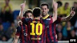Leo Messi celebra tras marcar el tercer gol ante el Villarreal.