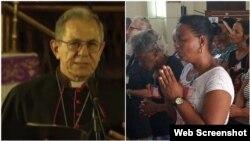Feligreses cubanos (a la derecha) escuchan el mensaje del líder de la Iglesia Católica de Cuba, Cardenal Juan de la Caridad García Rodríguez, transmitido por la televisión cubana.