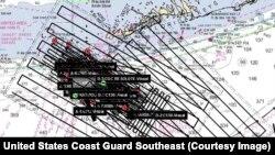 Mapa de las operaciones de búsqueda de los 10 migrantes cubanos. (Imagen de la Guardia Costera de EEUU).