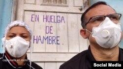 José Daniel Ferrer junto a su esposa, Nelva Ismarays Ortega, ambos en huelga de hambre (Facebook).