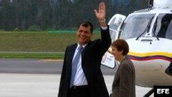 El presidente de Ecuador, Rafael Correa, en el nuevo aeropuerto de Quito.