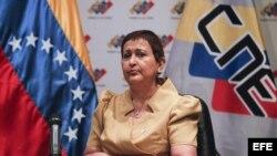 La presidenta del Consejo Nacional Electoral (CNE), Tibisay Lucena. Foto de archivo.