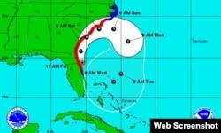 Trayectoria del huracán Matthew.