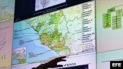 Mapa de las zonas afectadas por el ébola en el oeste de África.