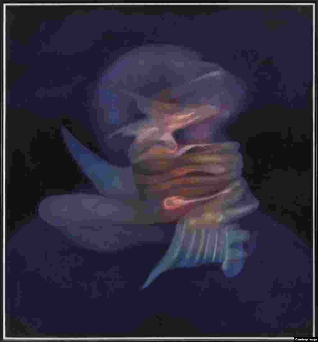 "Rafael Soriano. ""Cabeza hechizada (Bewitched Head)"", 1994. Oil on canvas/óleo sobre lienzo 54 x 50 inches (137.2 x 127 centímetros). Rafael Soriano Family Collection/Colección de la Familia Rafael Soriano."