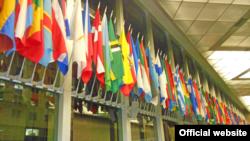 Banderas de varios países en el vestíbulo del Departamento de Estado.