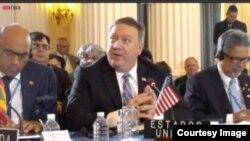 Secretario de Estado de EE.UU. Mike Pompeo en la Asamblea General de OEA.
