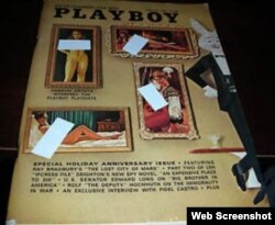 """Una portada del número de enero de 1967 de """"Playboy"""" en la se cubrieron los senos de las modelos. Abajo, se anuncia la entrevista exclusiva con Fidel Castro."""