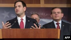 Senadores Marco Rubio y Bob Menéndez. (Archivo/SAUL LOEB / AFP)