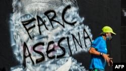 Grafitti anti FARC en muros de Bogotá, Colombia
