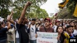 Protesta de estudiantes y profesores universitarios en Venezuela.