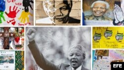 Fotografias de Nelson Mandela en un muro.