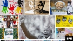 Fotografias de Nelson Mandela en un muro en las afueras del centro donde se encuentra hospitalizado.