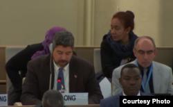 John Suarez ante el Consejo de Derechos Humanos en Ginebra.