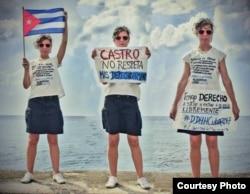 Lia Villares publicó esta foto en Twitter en señal de protesta por la prohibición de viaje.