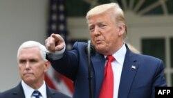 El presidente Donald Trump responde a preguntas de la prensa en la Casa Blanca, el viernes 13 de marzo del 2020, después de declarar el estado de emergencia por la pandemia de coronavirus.