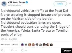 En este mensaje de Twitter, las autoridades alertaban del cierre del cruce fronterizo de El Paso Norte por la protesta.