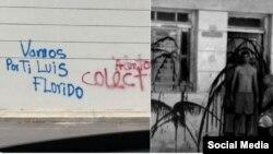 Letreros y pintadas en casas de opositores venezolanos y cubanos, respectivamente. (Twitter).
