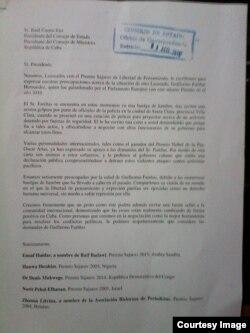 Carta enviada a Raúl Castro y rubricada por premios Sájarov.