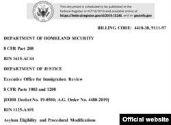 El anuncio oficial como lo publica este martes el Registro Federal de EEUU.
