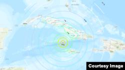 Mapa muestra el alcance del sismo.