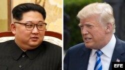 Combo de fotografías que muestra al líder norcoreano, Kim Jong-Un y el presidente estadounidense Donald Trump.