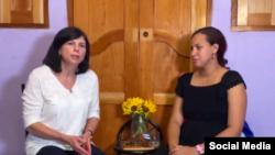 Encuentro de Mara Tekach con la esposa de José Daniel Ferrer.