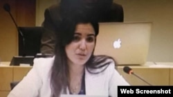 La funcionaria cubana Heidy Villuendas, en una imagen captada del video que publicó la agencia Prensa Latina.