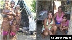 (Izq) Anadieyis Moreno Leon, embarazada, con sus 5 hijos. (Der) Irene Frías Ortiz y sus hijas.