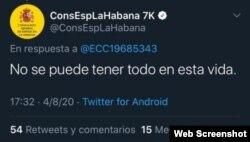 Una de las respuestas que generó la solicitud de disculpas por parte del Consulado de España en La Habana.