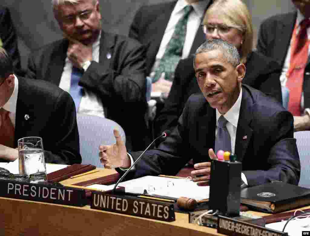 El presidente estadounidense, Barack Obama, interviene en la reunión del Consejo de Seguridad de la ONU que presidió.
