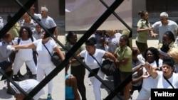 Fuerzas represivas detienen a Berta Soler y otras Damas de Blanco este domingo en la sede del movimeinto opositor en La Habana. (Fotos: Angel Moya)