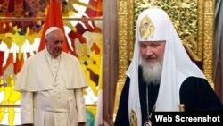 El Papa Francisco (izq) y el Patriarca Kirill de Moscú y de todas las Rusias (der) se reunirán en La Habana