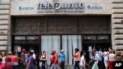 Una Oficina de ETECSA en La Habana.