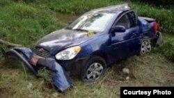 Hyundai Accent que conducía Carromero cuando se produjo el accidente.